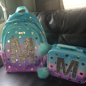 """Justice ombré backpack and matching lunch box """" M"""